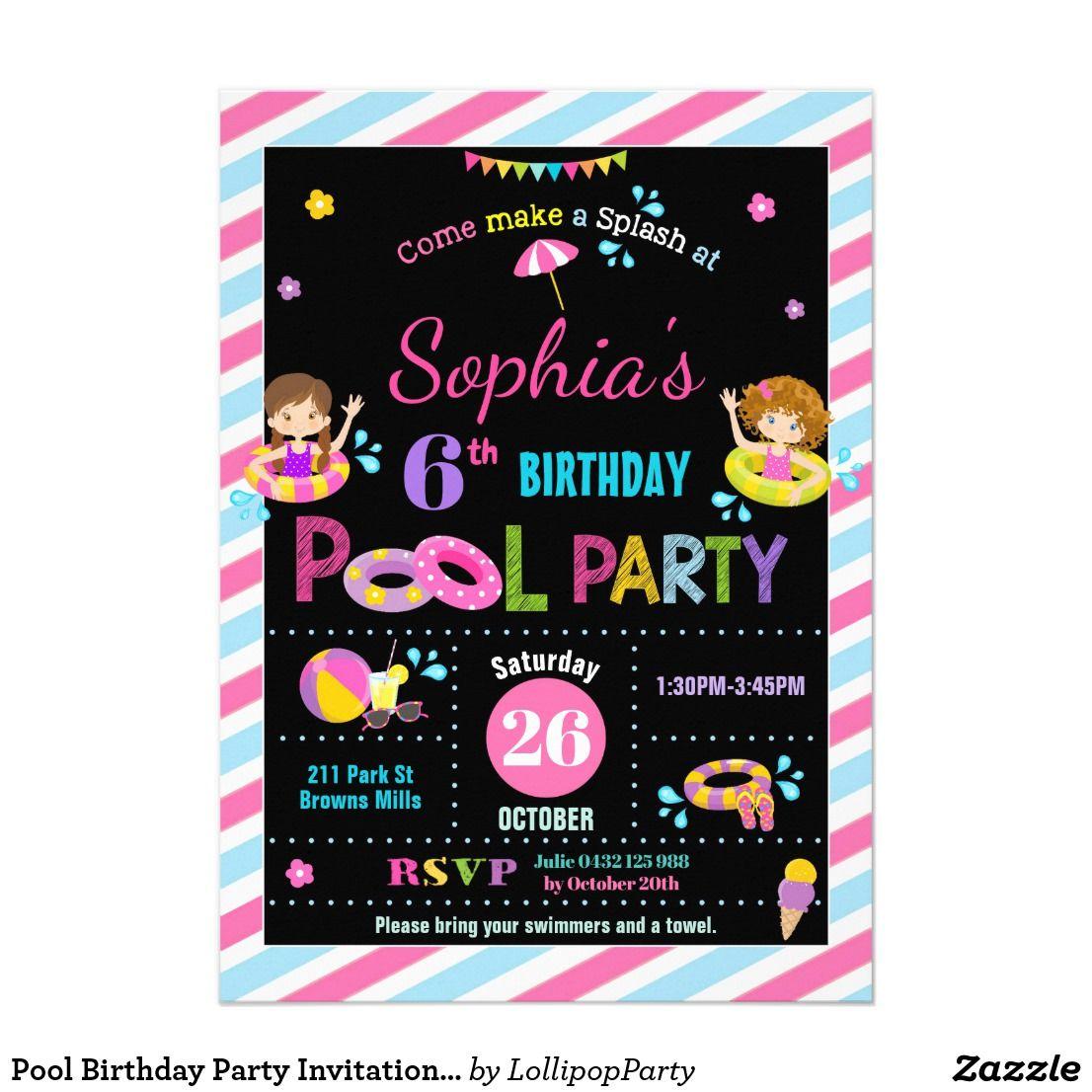 Pool Birthday Party Invitations Girls Pool birthday