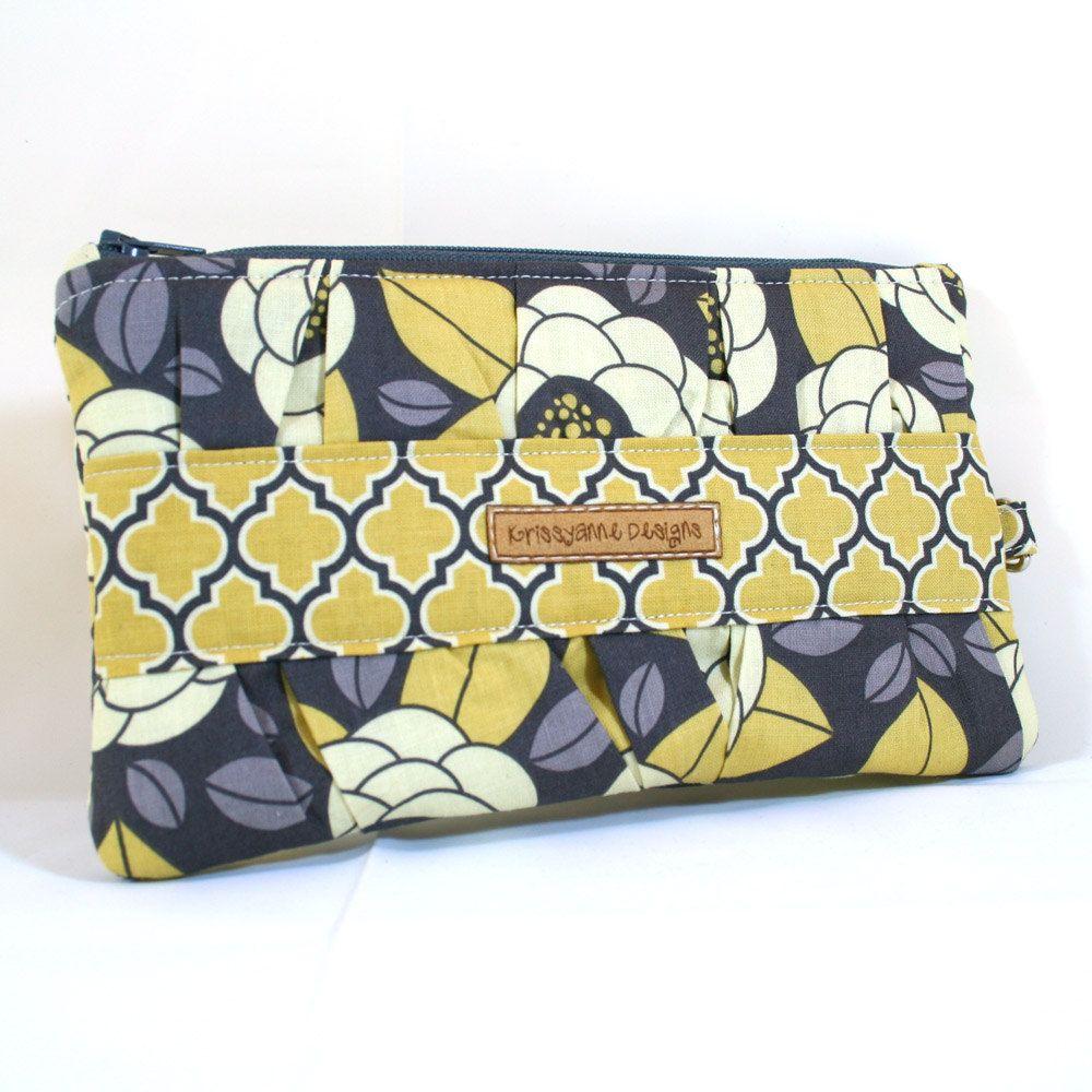 Gathered Zippered Clutch - Joel Dewberry - Bloom in Granite - Made to Order. $18.00, via Etsy.