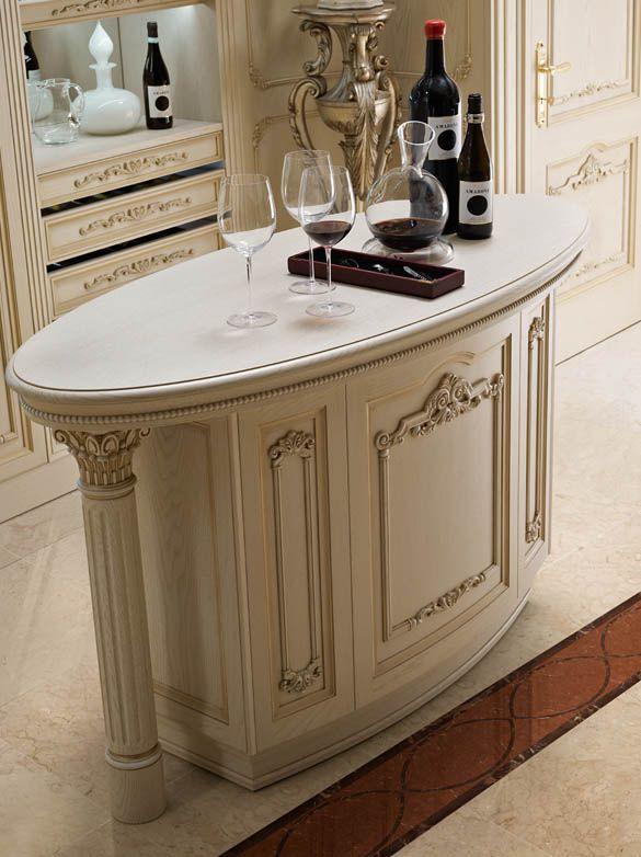 Isola per cucina bianca di lusso in rovere | Klasik mutfak ...