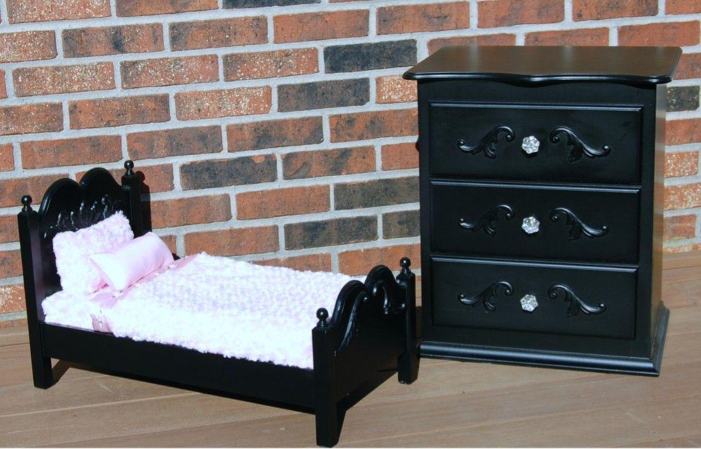 Black Fleur De Lis Bed and Chest
