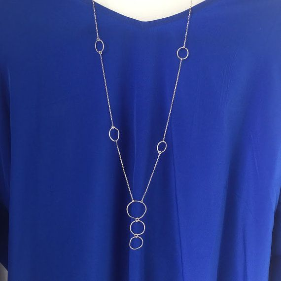 Simple Sterling Silver Necklace long slightly by TheBluePrint