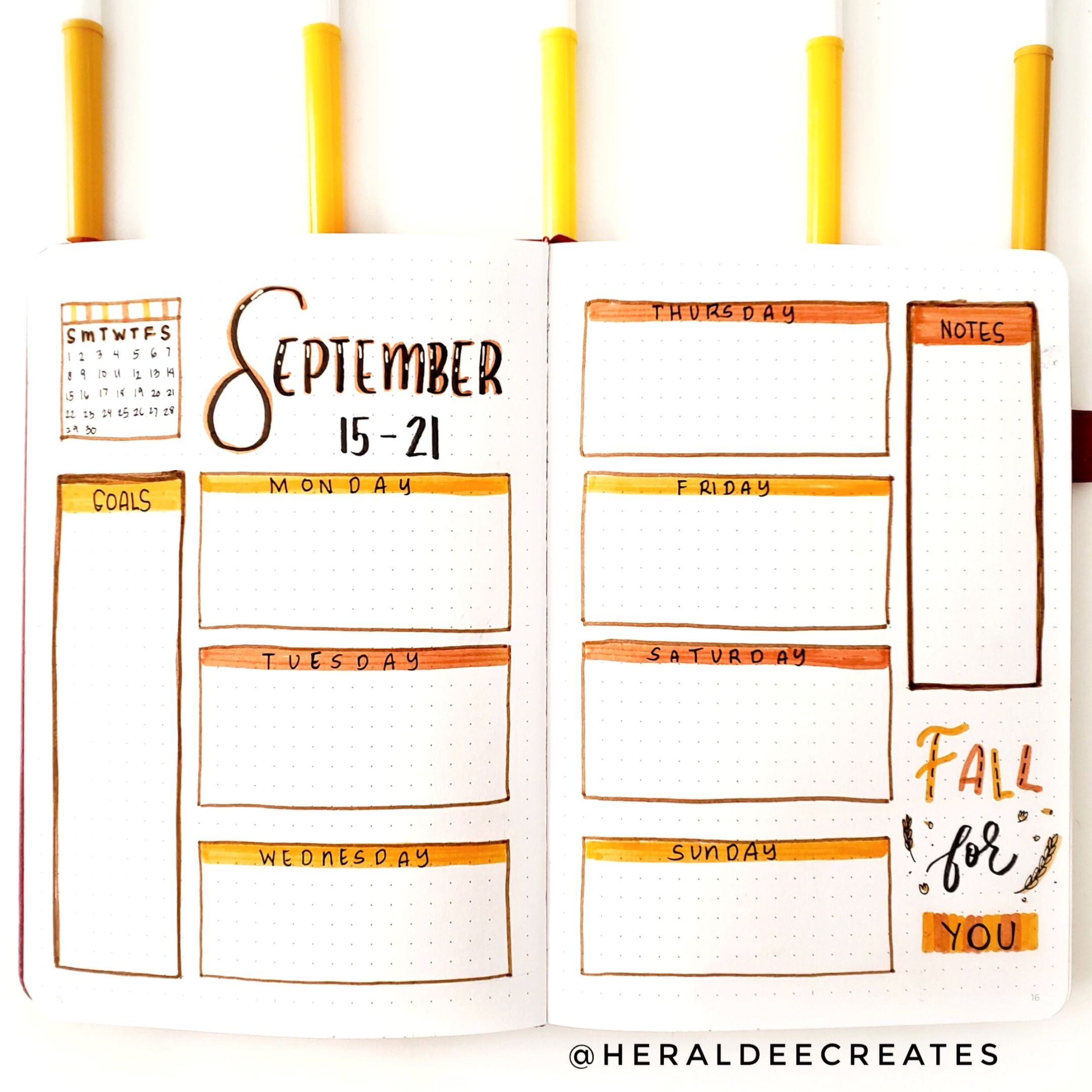 My Fall Bullet Journal Set-up is here! Get several inspirations for simple and easy fall bullet journal spread Ideas. Choose from 3 Weekly Spread designs, monthly spread, mood tracker, doodles and more! Watch video tutorials for a step-by-step guide to create your best bullet journal spreads. Plus practice your calligraphy skills with unique Fall Quotes that you'll surely love. #BulletJournal #Fall #Bujo #FallQuotes #FallTheme via @thoughtsbucket