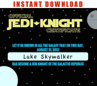 Jedi Certificate Star Wars  Editable Files you by GalacticParty