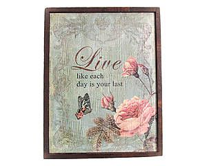 QUADRO DECORATIVO ROSE AND LIVE - 29X37,5CM