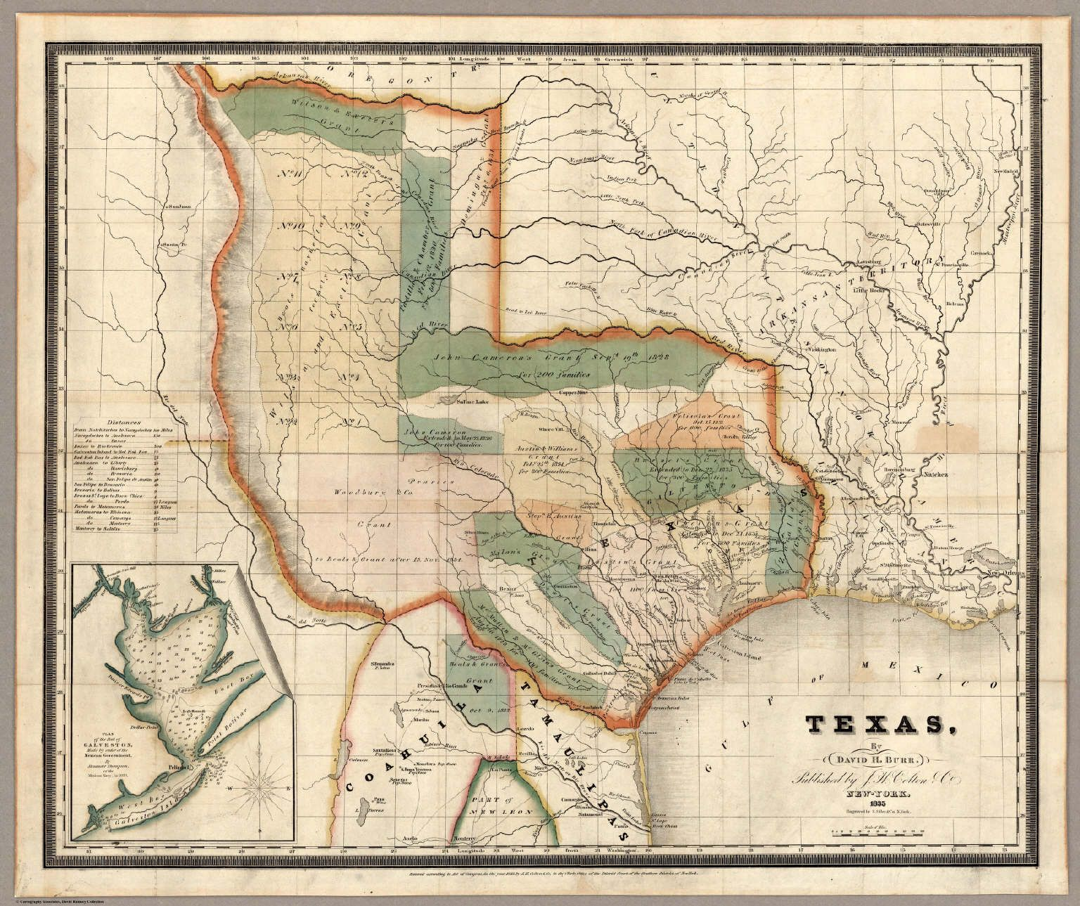 Texas By David H Burr Published By J H Colton Amp Co