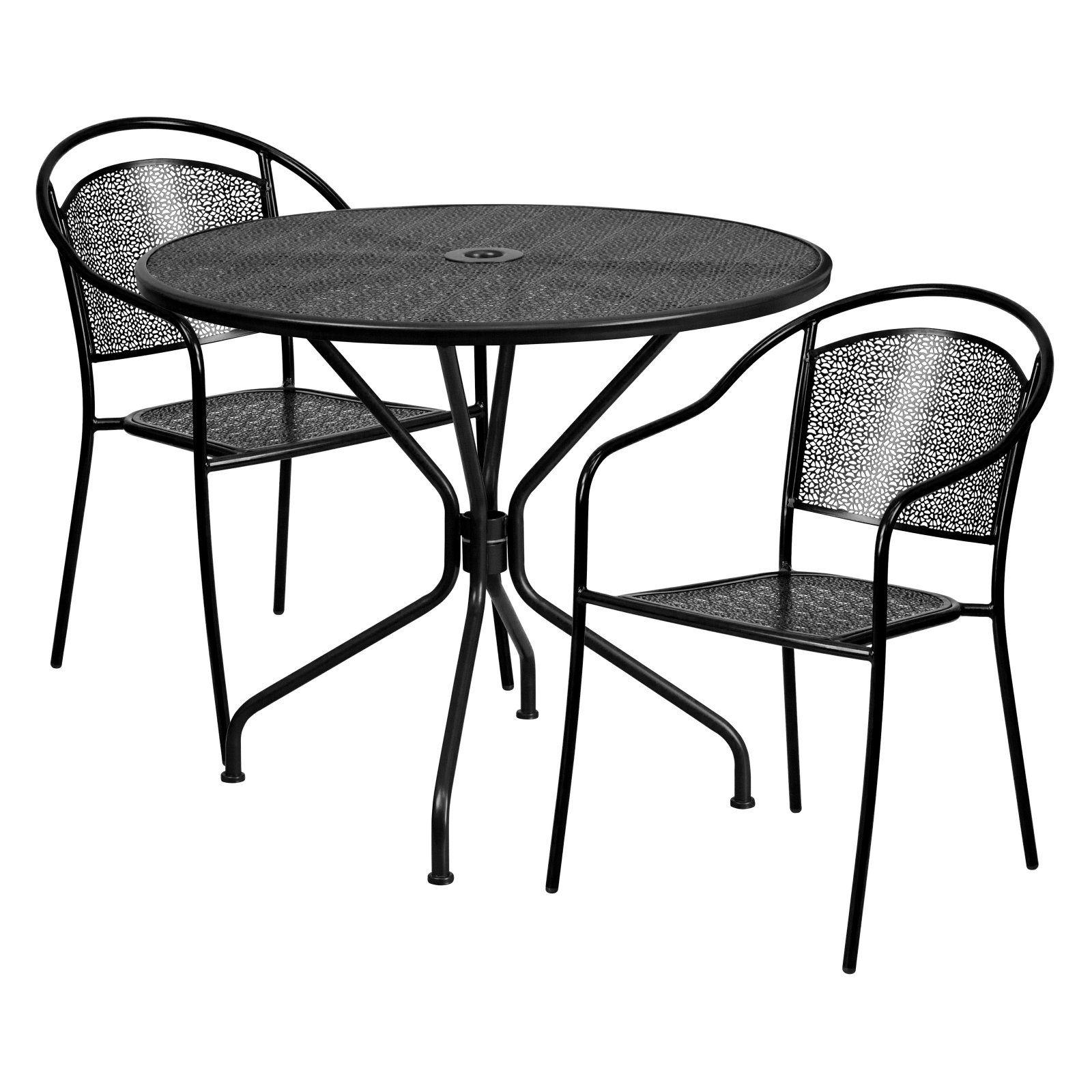 Flash Furniture Indoor Outdoor Steel 3 Piece Patio Dining Set