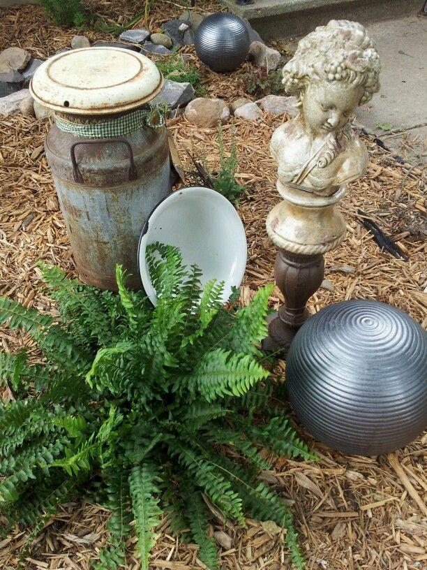 Shabby Chic yard art grouping.