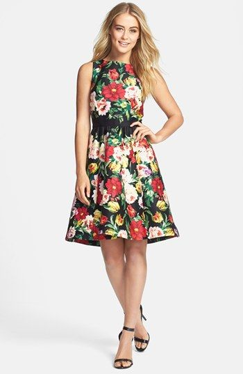 Gabby Skye Floral Stretch Cotton Piqué Fit & Flare Dress available ...