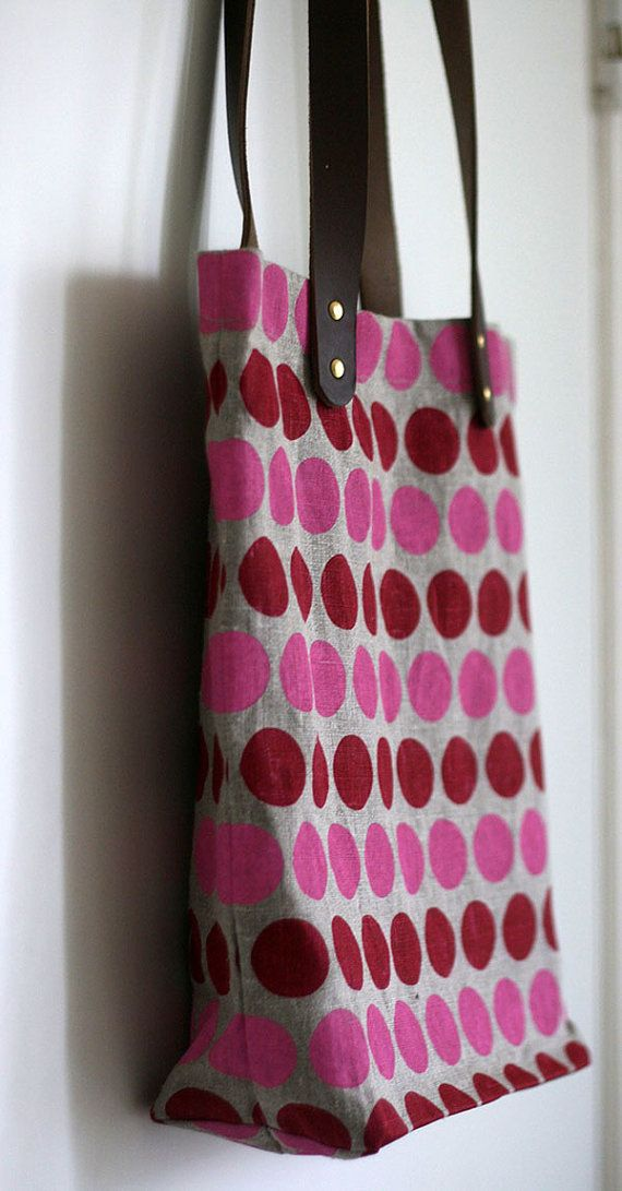 SALE Dots Tote Bag in RedPink by jenhewett on Etsy