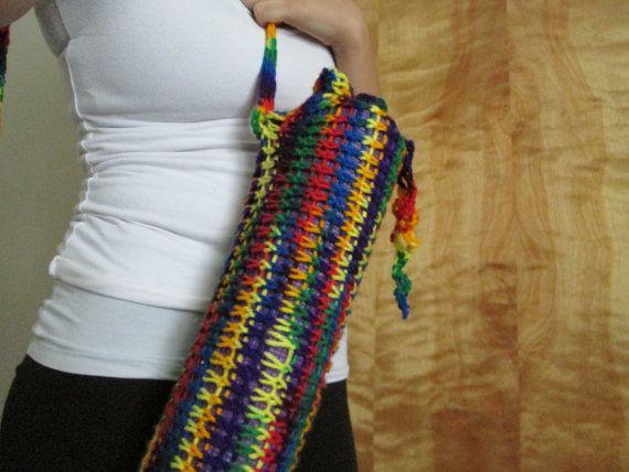 Rainbow Knitted Yoga mat bag | Hot handbags, Bag ...