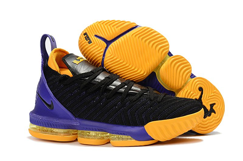 8ced2f9bd662 2018 Nike LeBron 16 Black Purple-Yellow Basketball Shoes For Sale