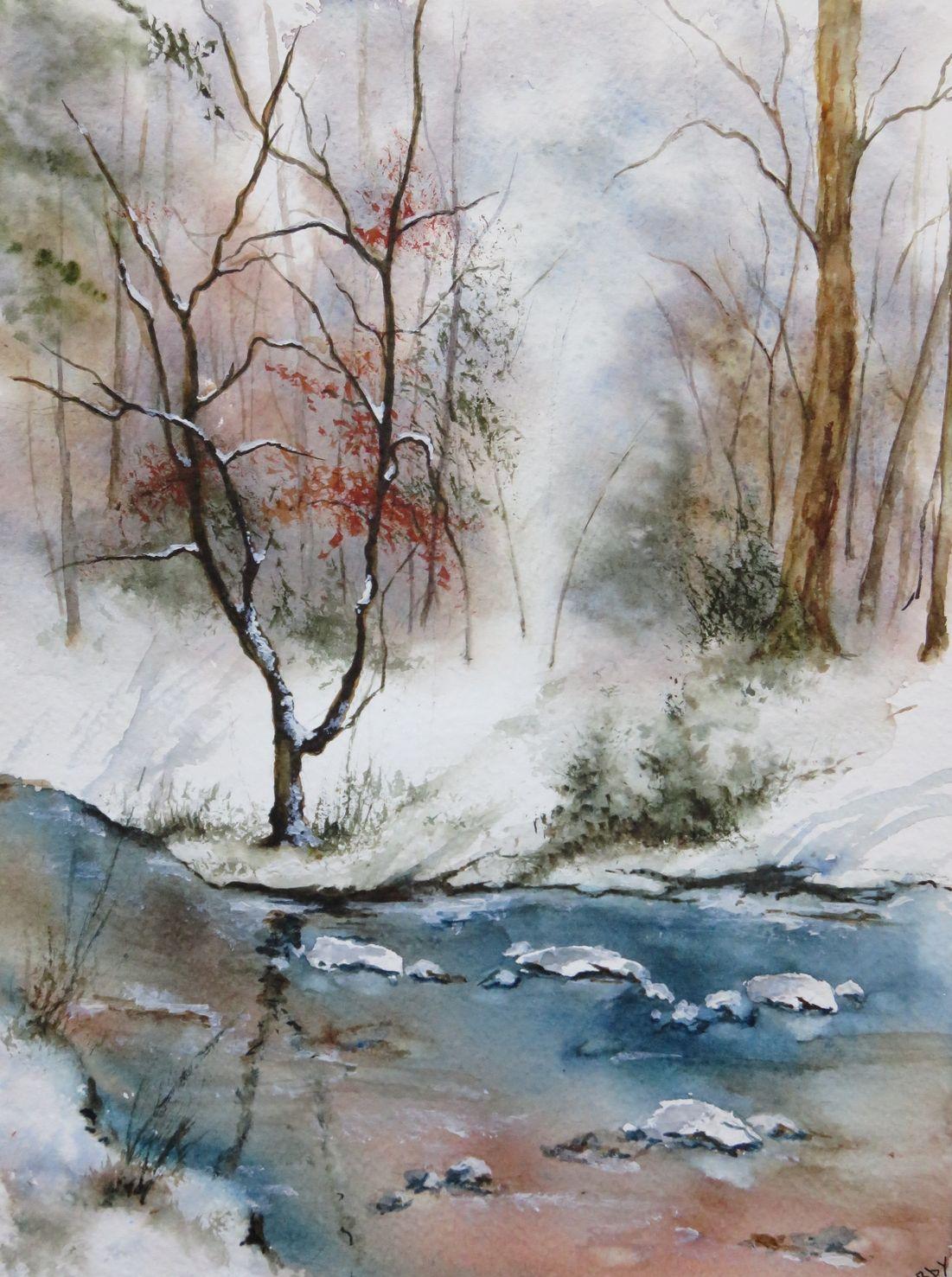 Hiver Blanc 23 X 31 Cm Watercolor Landscape Paintings Winter