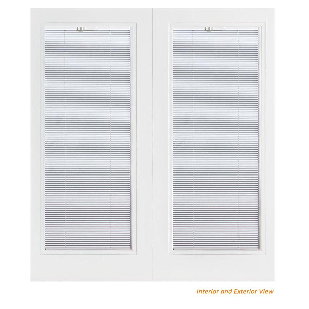 Masonite 60 In X 80 In Primed White Steel Prehung Left Hand Inswing Mini Blind Patio Door With Brickmold 99363 The Home Depot Steel Patio Doors Mini Blinds Blinds