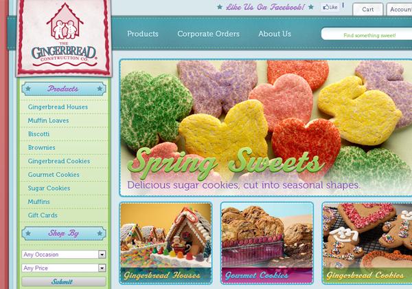 gingerbread bakery website design layout