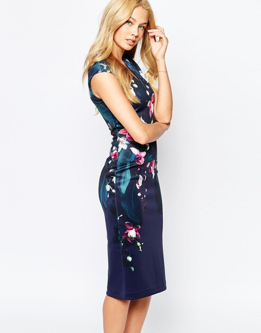52e31dd69eca51 Great dress for a Summer night out. Ted Baker Antonya Floral Midi Dress