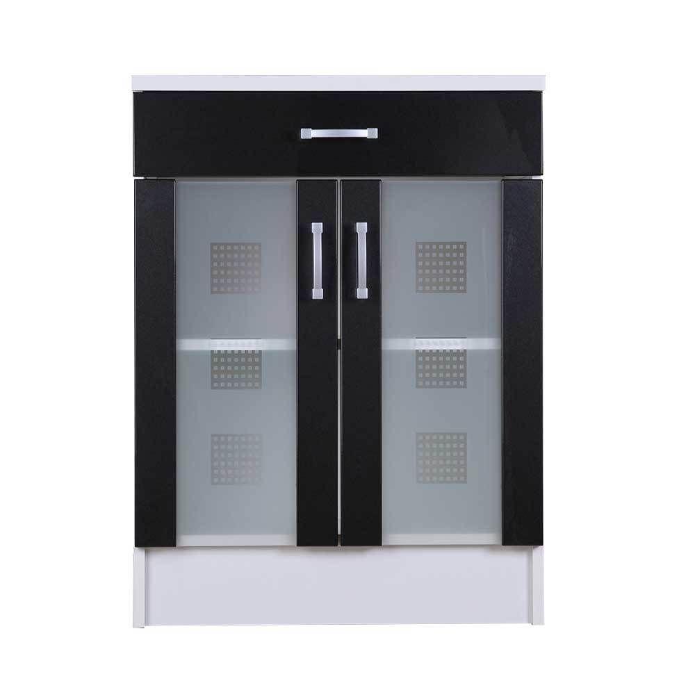 Badezimmer Unterschrank mit 2 Glastüren Anthrazit Hochglanz Weiß ...