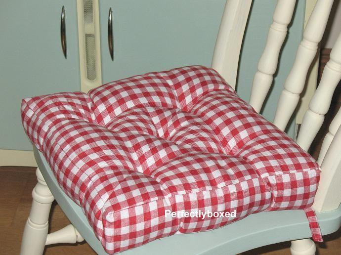 red gingham seat pads--use mine on rockers | pink | pinterest