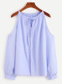 11e95083fc4f46 Blue Vertical Striped Babydoll Blouse With Bow Tie   Đồ để mặc ...