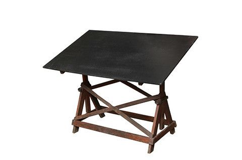 1950 Black Adjustable Wood Drafting Table ... a sense of:  drawn to the drawing table