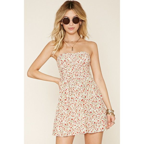 a04a2d41f7 Forever 21 Women s Strapless Floral Dress ( 10) ❤ liked on Polyvore  featuring dresses