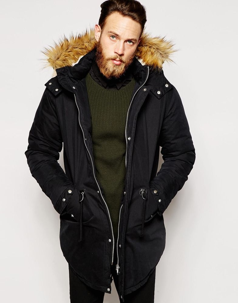 ASOS Mens Parka Jacket / Coat With Faux Shearling Hood In Black ...