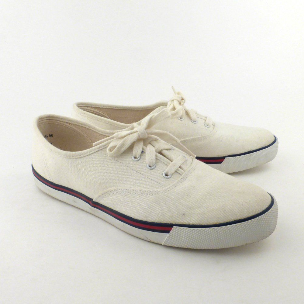 3978452f624 Keds White Canvas Sneakers Vintage 1980s Deck Shoes Champions women s size  8 1 2 by purevintageclothing on Etsy
