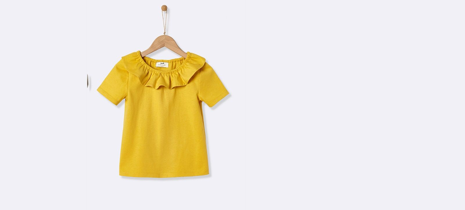 3071daf6a6e4e T-shirt col pierrot fille Blanc+Curry+Rose blush