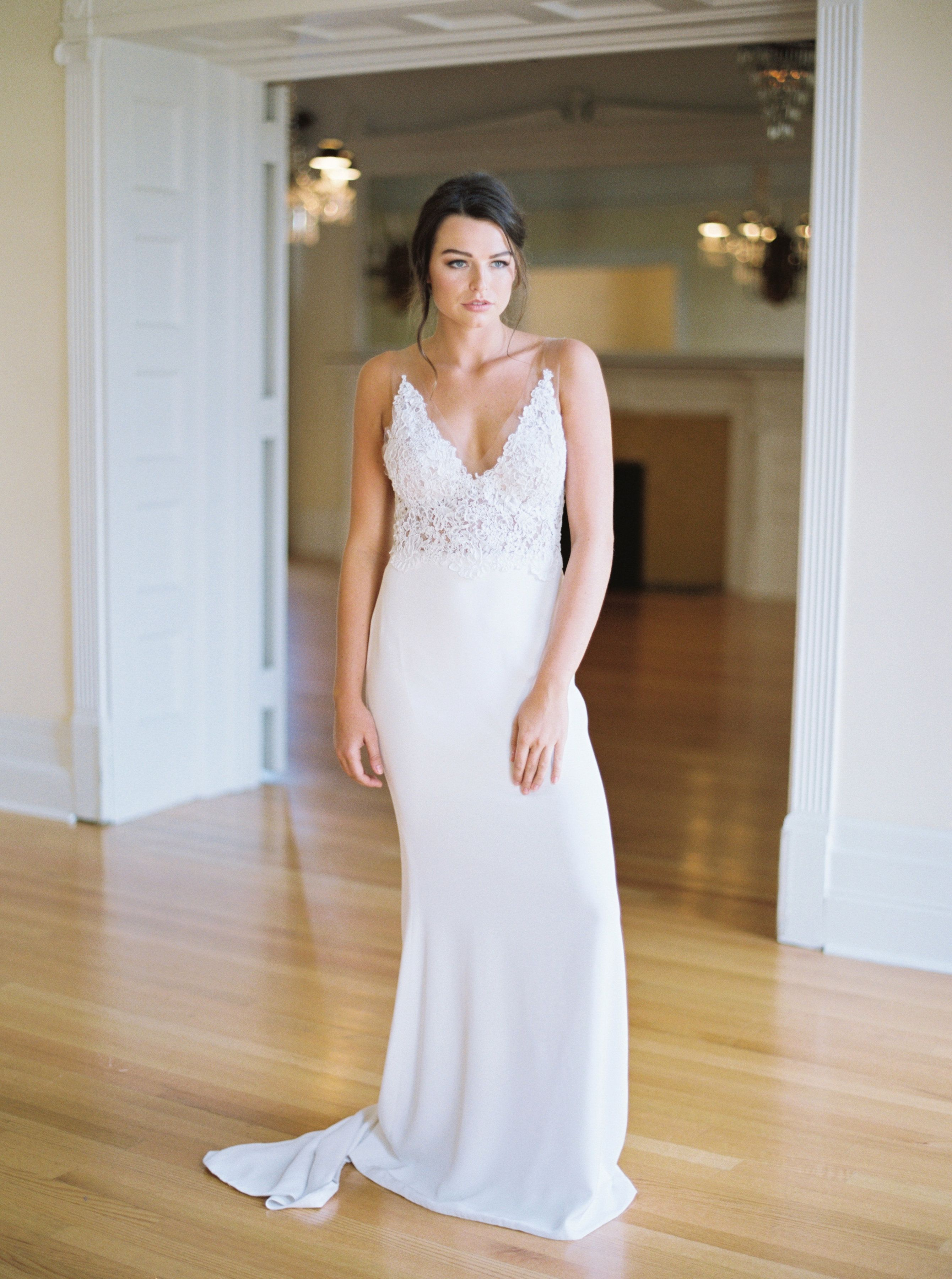 Alyssa Kristin wedding gown | Lace wedding dress with illusion ...