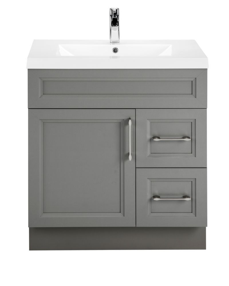 Best 30 Inch Fossil Bevel Shaker 1 Door 2 Drawer Vanity Right 640 x 480