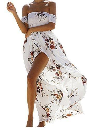 a5117c7098 Womens Boho Off-Shoulder Strapless Beach Floral Slit Maxi Dress