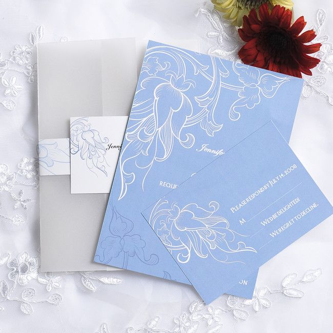 Vintage Powder Blue Pocket Wedding Invitation Cards Ewpi059 As Low 1 69