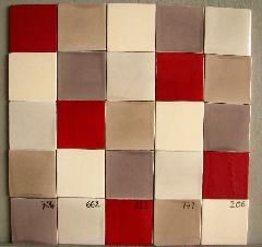 Faience cuisine 10x10 ton rouge 822, taupe 704, beige creme ...