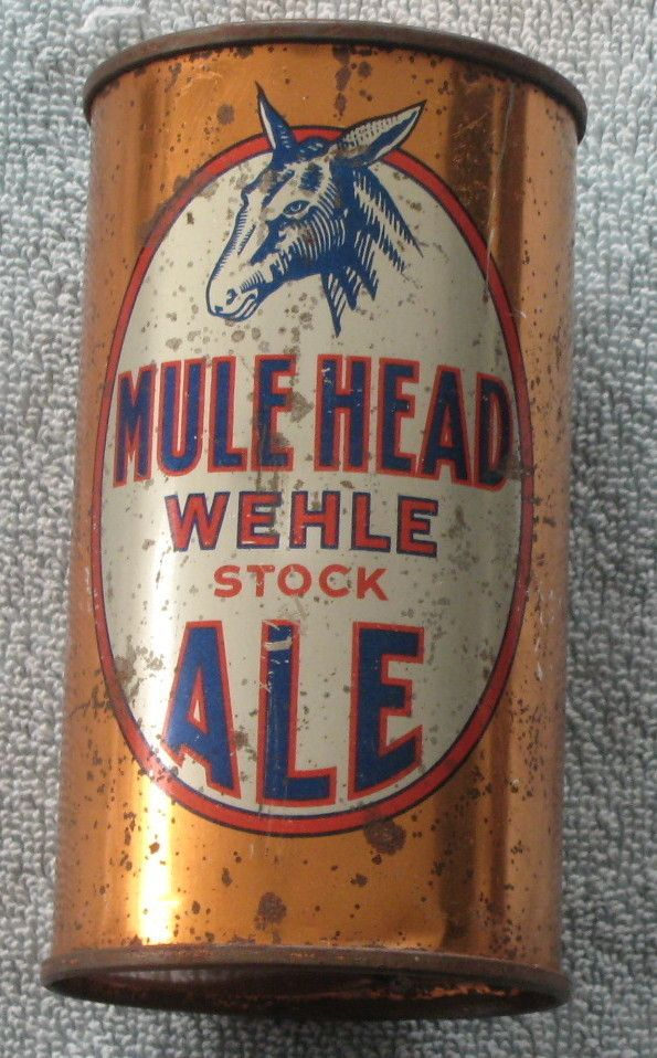 Vintage Wehle Brewing Mule Head Ale Flat Top Beer Can IRS Tax Paid West Haven CT