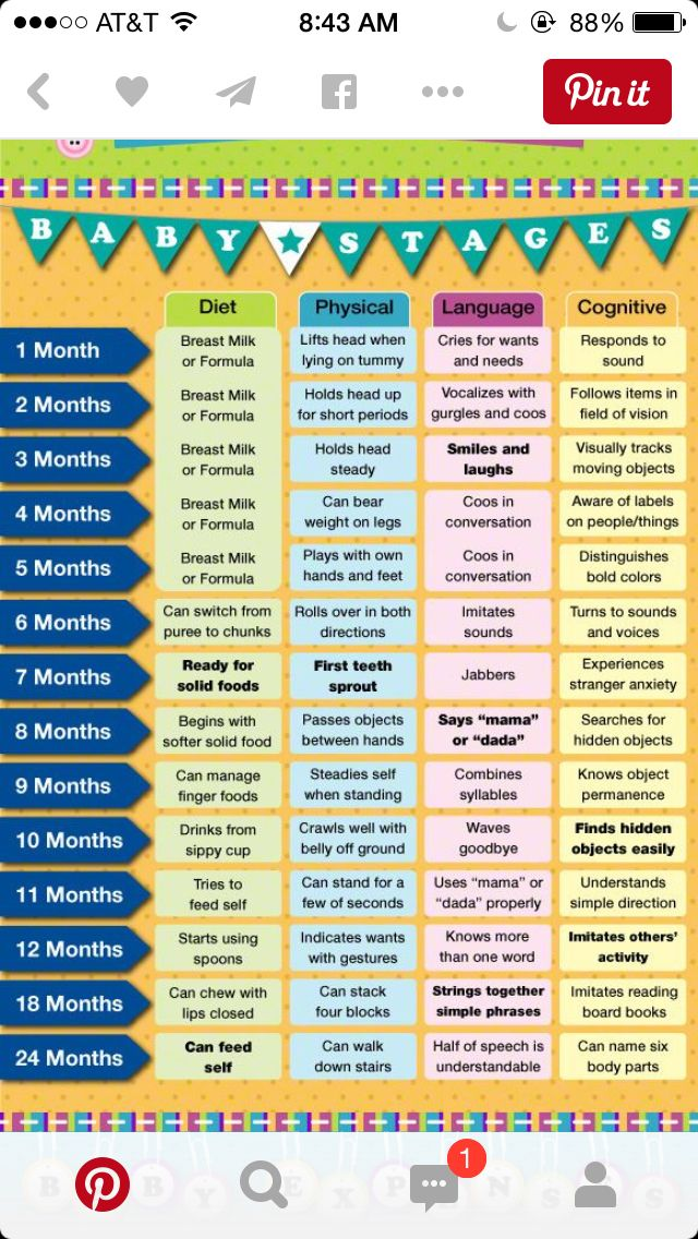 Stages of baby development months also best chart images on pinterest names rh