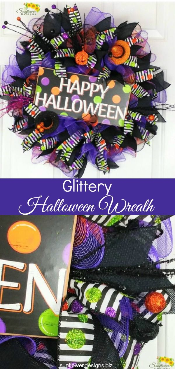 Add this Glittery Halloween Wreath to your front door decor and