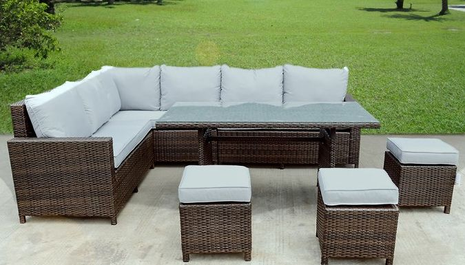 buy 9 seater l shaped rattan furniture set uk deal for just 49900