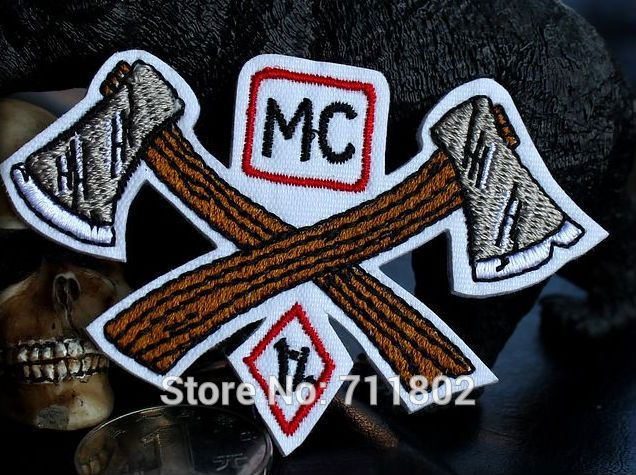 Axe 1% iron on patches cloth patch badge embroidered Jacket Motorcycle Club  Biker outlaw MC