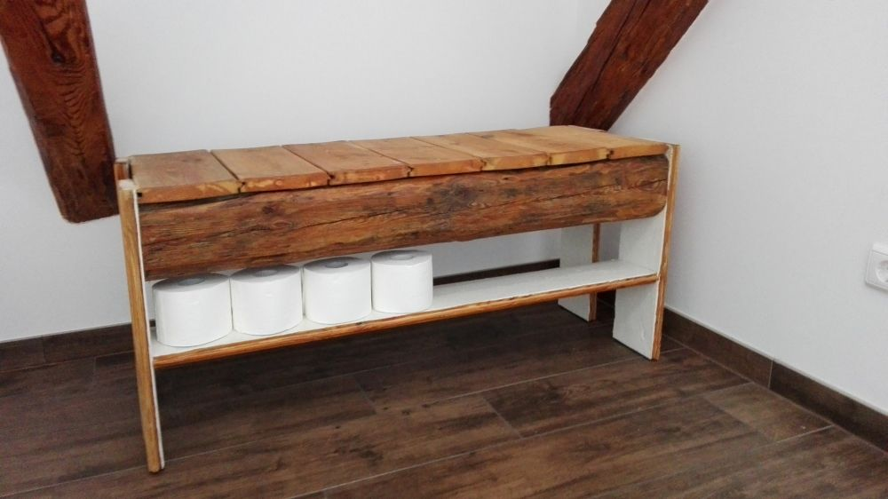 selbstgebaute bank mit ablagefl che aus alten balken und dielen kreative individuelle. Black Bedroom Furniture Sets. Home Design Ideas