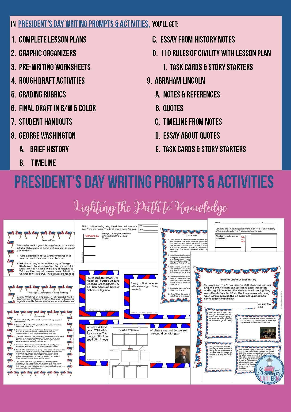President S Day Writing Prompts Amp Activities Grades 6 8