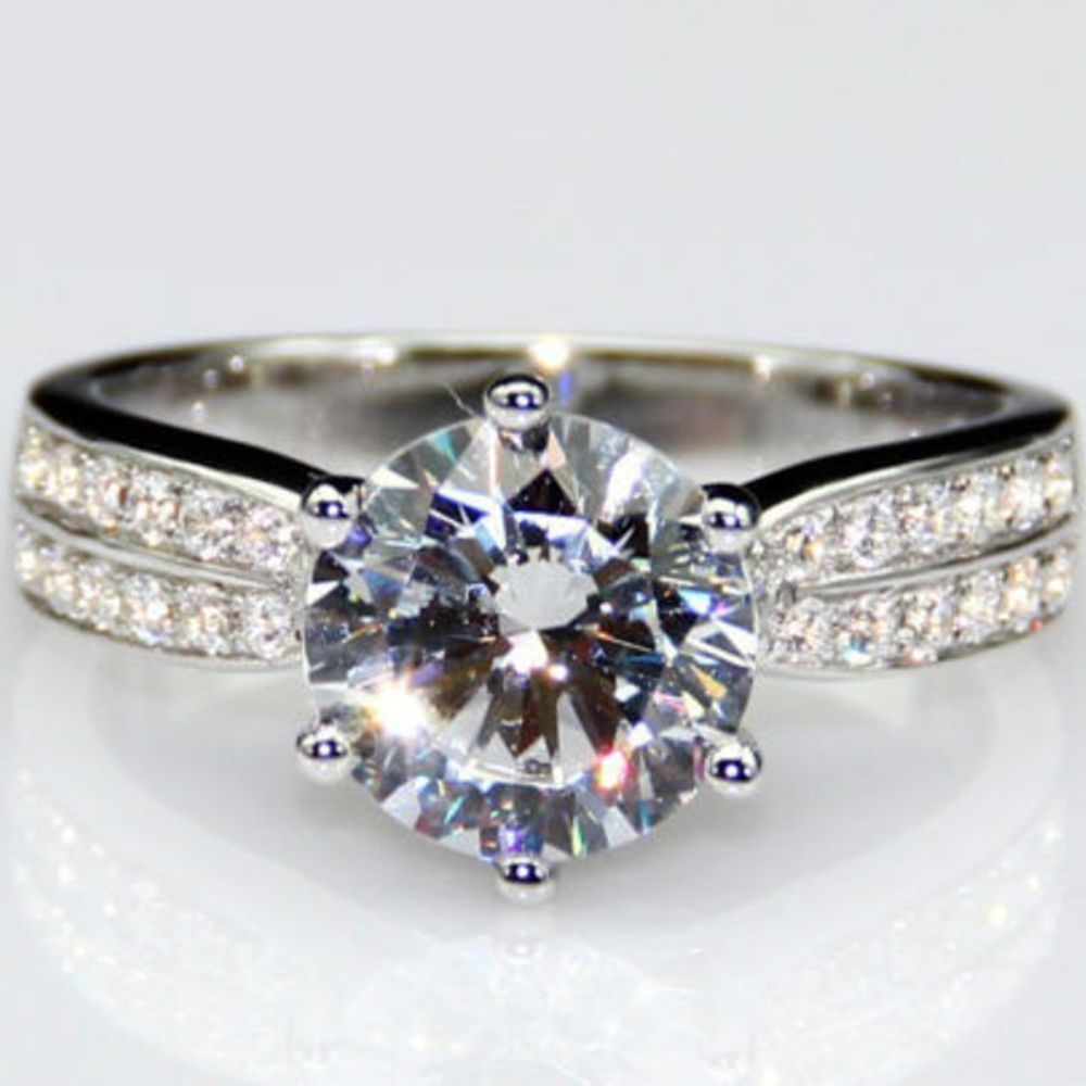Halo Brilliant Moissanite Ring 5.48 Ct Off White Engagement 925 Sterling Silver