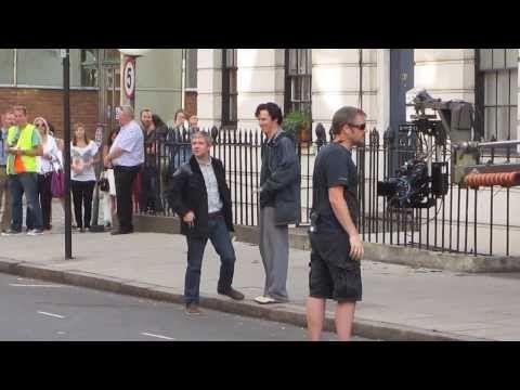 Benedict Cumberbatch & Martin Freeman play for the crowd: Setlock 21st August 2013