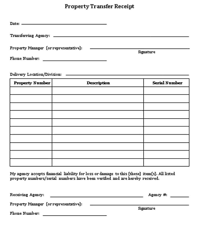 Transfer Receipt Template Receipt Template Templates Business Template
