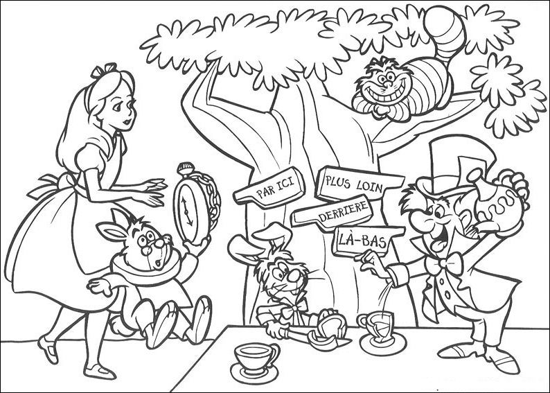 alice in wonderland coloring sheets posted by fun and free coloring pages at 10 - Alice In Wonderland Coloring Pages