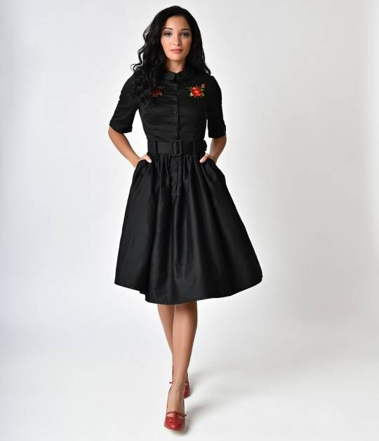 The Aria Rose Embroidery Shirt Dress Is A Clic 1950s Shirtwaist Style Fresh And Fabulous From Collectif Boasting Small Pointed Collar