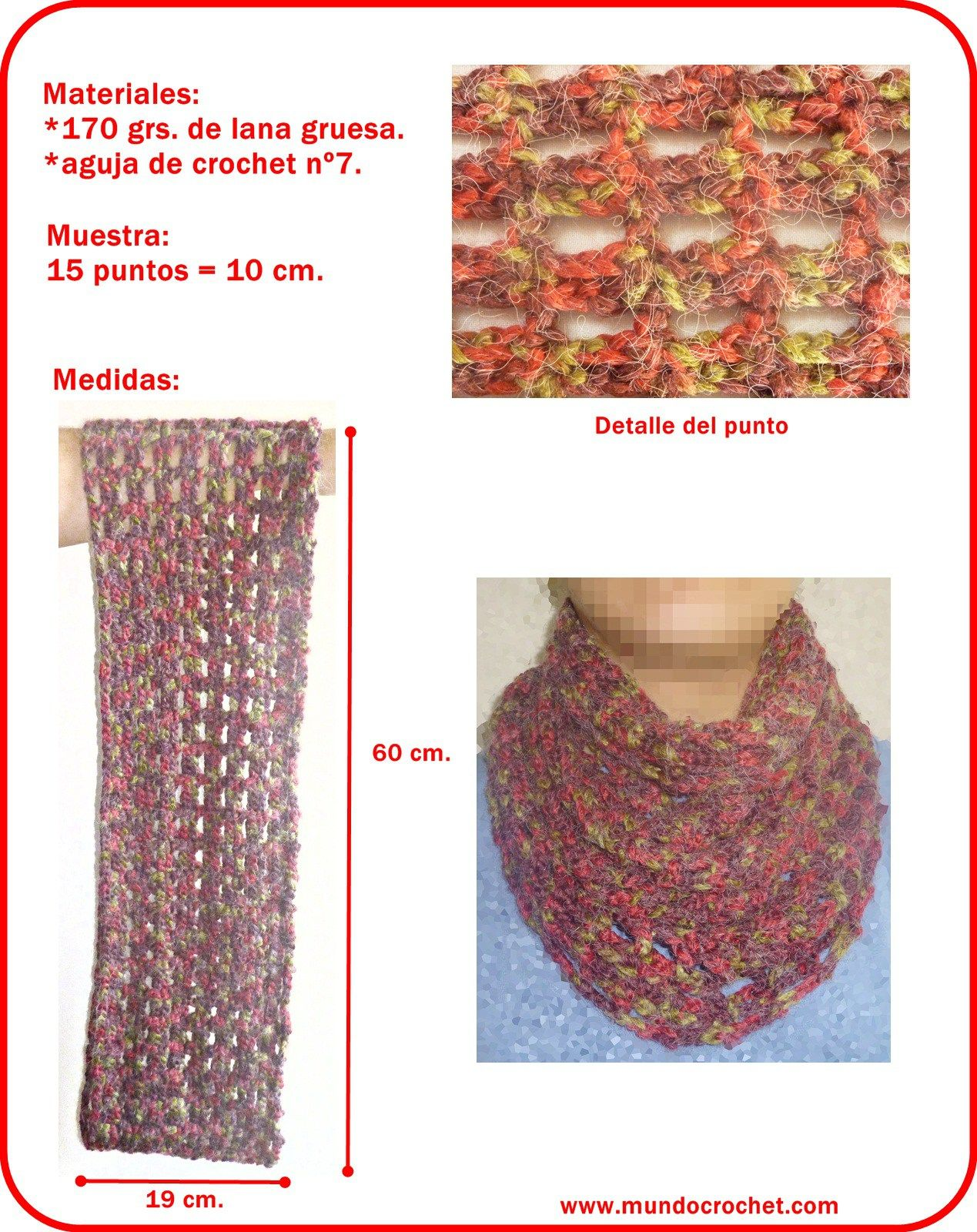 Patron bufanda infinita a crochet o ganchillo | Bordado y tejido ...