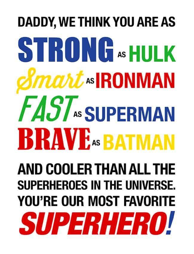 Superhero Fathers Day Card Printable #superherogifts