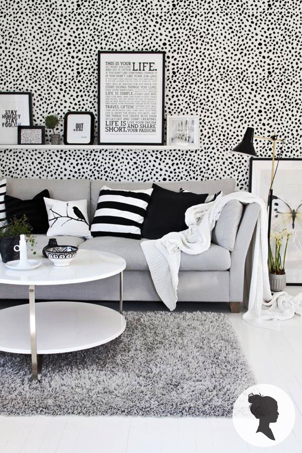 Dalmatian Pattern Wallpaper Trendy Animal Print Contemporary Traditional Or Removable Wallpaper Living Room Interior Tiny House Interior Design Your Home #removable #wallpaper #living #room