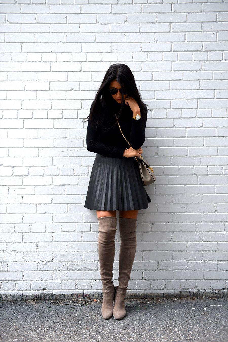 8432e5c29a77 Black Pleated Skirt, Black Leather Skirts, Pleated Skirt Outfit, Pleated  Leather Skirt,