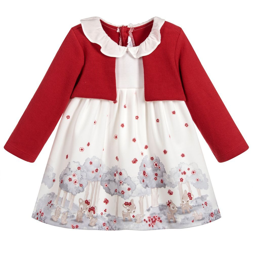 b81e5c864234 Baby Girls Red & Ivory Dress for Girl by Mayoral Newborn. Discover more  beautiful designer Dresses for kids online