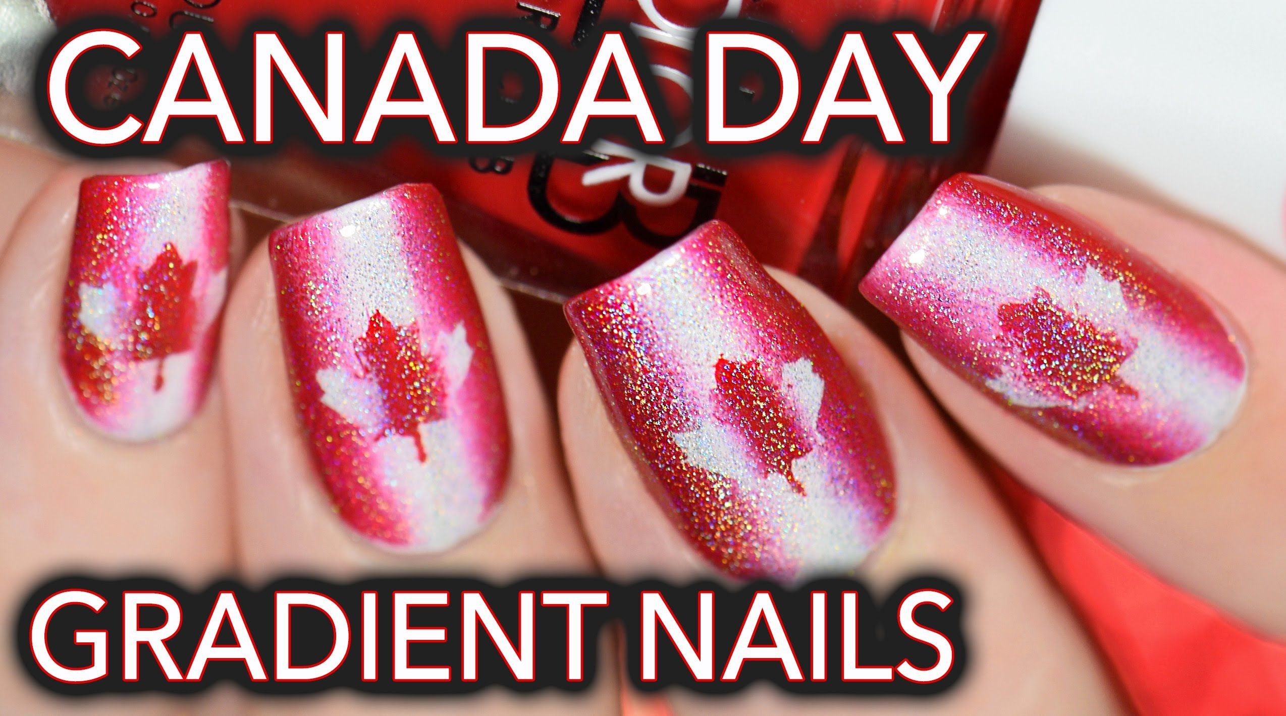 Canada Day Nail Art Red White Amp Holo Fancy Nails Designs Red White Nails New Nail Art
